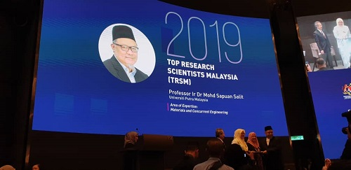 Prof. Ir. Dr. Mohd Sapuan Salit was awarded the Top Research Scientists Malaysia 2019